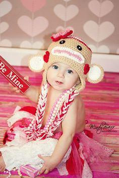 Crochet Valentine Sock Monkey Hat Newborn to Toddler sizing Photography prop valentine hat valentine photo prop Childrens Crochet Hats, Crochet Kids Hats, Crochet Beanie, Crochet Cross, Love Crochet, Valentine Hats, Valentines, Crochet Designs, Crochet Patterns