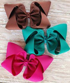 Hairbow conjunto elegir colores arcos del pelo de las niñas Ribbon Bows, Grosgrain Ribbon, Ribbons, Diy Hair Bows, Diy Bow, Boutique Bows, Baby Girl Accessories, Hair Accessories, Diy Hairstyles