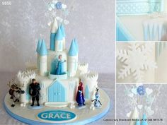 Step into an icy world with this themed Disney Frozen castle cake made on two tiers and towers. Finished with icicles and snowflakes, topped with a wired number topper. http://www.cakescrazy.co.uk/details/disney-frozen-castle-cake-9856.html