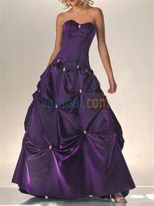 Marvelous Strapless Taffeta Beaded Purple 2010 Prom Evening Dress