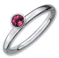 Sterling Silver Stackable Expressions High 4mm Round Pink Tourmaline Ring