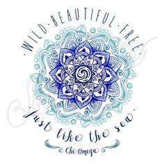 Chi Omega | Chi O | Wild Beautiful Free | Just Like the Sea | Henna Tee Shirt Design | South by Sea | Greek Tee Shirts | Greek Tank Tops | Custom Apparel Design | Custom Greek Apparel | Sorority Tee Shirts | Sorority Tanks | Sorority Shirt Designs