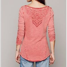 Free people Luna top Beautiful top by free people with cut out crochet detailing around the neckline and sleeves. Worn once and in perfect condition. Free People Tops Tees - Long Sleeve