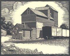 """By Herschel Logan.  """"Hartley's Elevator""""    Block print, 1932    5.5 x 7"""