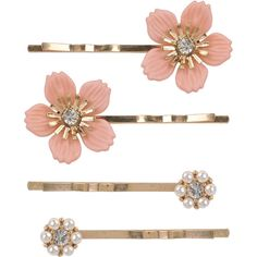 Dainty Floral Hair Pins (€2,08) ❤ liked on Polyvore featuring accessories, hair accessories, fillers, pink fillers, jewelry, women, floral hair pins, bobby hair pins, pink hair accessories and forever 21