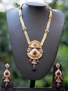 Stunning Pearl & Polki Long Necklace Set – India1001.com