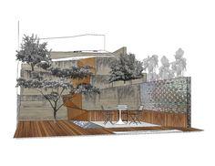 garten hang terrasse sttzmauer beton metall zaun kieferbaum - Terrasse Im Garten Herausvorderungen