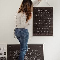 Cursive Chart School Room Art Print Download | With a slightly textured-looking background and farmhouse-style appeal, these can go from kitchen to kids room to learning space with ease.