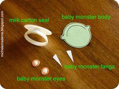 Milk carton ring finger puppet.