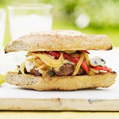 Philly Cheesesteak Burger - I'll have make modifications, but these could be a crowd pleaser.