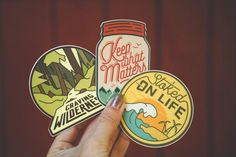 """What do we live for if not adventure? We're the generation of experience seekers who appreciate the wild nature, remote destinations, and untouched places. This sticker set will accompany you on adventures large and small and be your inspiration to get out and explore. Material: matte vinylNumber of stickers: 3 total, one of each designSizes: 3-3.5"""" on the longest sideColors: please note that the colors are not identical to the ones on the patches."""