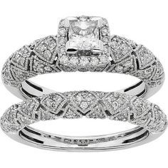 IGL Certified Diamond Art Deco Square Halo Engagement Ring Set in 14k... ($6,500) ❤ liked on Polyvore featuring jewelry, rings, white, heart shaped diamond ring, princess cut engagement rings, diamond cluster ring, heart engagement rings and white gold rings