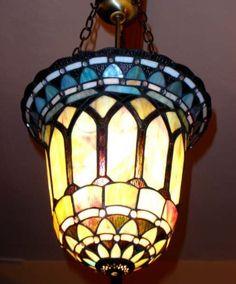 """Tiffany Design Hängelampe """"CEILING BLUE BELL"""" aus STAINED-Glas von Kontra GmbH, http://www.amazon.de/dp/B00BEVNJ0M/ref=cm_sw_r_pi_dp_GYVnsb1TE4D3W - 84 EUR"""