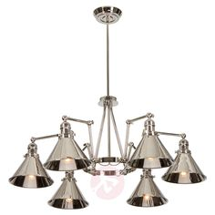 Modern Retro Adjustible Chandelier Nickel By Lucas McKearn Silver (LED Compatible - Assembly Required - 60 to 100 Watts) Lighting Store, Chandelier Lighting, Provence, Industrial Style Lamps, Ceiling Fan Price, Task Lamps, Outdoor Wall Sconce, Modern Retro, Hanging Lights