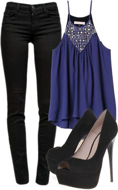 Should be blue heels to pull the colors together