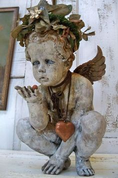 Large cherub statue hand painted adorned by AnitaSperoDesign...