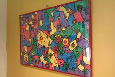 Groepswerkstuk: elk kind maakt een of twee kleine tekeningen, deze worden verbonden.