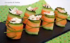 Les recettes de Nathou: Roulades concombre - carotte au riz et crevettes