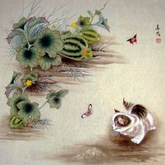 """Kitten and Butterflies"" par Mi Chunmao"