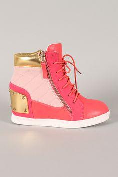 Liliana Sue-20 Zipper Lace Up High Top Wedge Sneaker