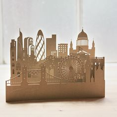 Individual delicate laser-cut works of art ie. cards. London skyline from ArtyMiss