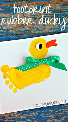 Have your kids make this adorable footprint duck craft! It's easy and cheap to make for a great keepsake. It can be a rubber ducky!