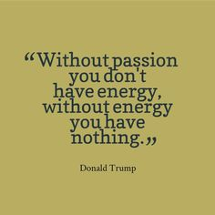 """""""Without passion, you don't have energy, without energy, you have nothing"""" - Donald Trump"""