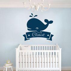 Sticker Chambre Bébé Baleine // retrouvez le produit sur : http://www.univ-stickers-muraux.fr/stickers-bebe-baleine-personnalise-420.html
