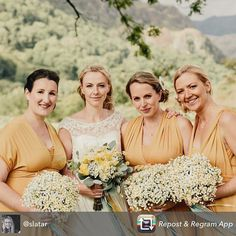 Amazing ❤️ Debs and her #bridesmaids look stunning in the Big Day. I absolutely adore the color palette in white and #mustard. If you like to know more, visit her post explaining the #weddingday www.belleamour.co.uk/page/2/ #weddingtime #weddingpalette #mustardwedding #mustardbridesmaids #mimetikbcn #mimetikbridesmaids #weddings #promdress #bridesmaiddress #bridesmaiddresses
