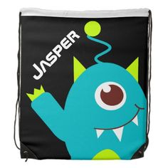 Kids friendly alien teal green personalized name drawstring bag. Designed by www.sarahtrett.com