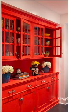 Tangerine painted cabinets