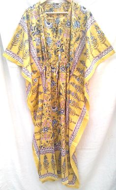 Anokhi Saffron Chinoiserie Floral Hand block print Indian cotton Boho chic Kaftan Long Tunic One size