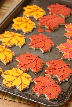 fall leaves - cookies with royal icing (I bet gingerbread cookies would be great here too)