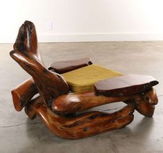 Amazing California Redwood Burl Wood Organic Lounge Chair 1960s