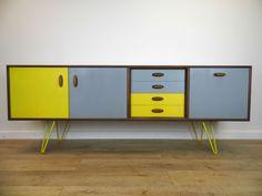 RETRO G PLAN UPCYCLED LONG TEAK SIDEBOARD ON HAIRPIN LEGS in Home, Furniture & DIY, Furniture, Sideboards, Buffets & Trolleys | eBay