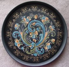 Telemark rosemaling collector plate in black, cream, & teal by Kristen Birkeland, CDA