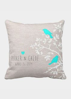 Personalized LOVE BIRDS Wedding Pillow Cotton