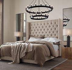Outside - Over front entrance - Camino Two-Tier Chandelier - THe bed the rustic bedside tables....Just LOVE this room!!