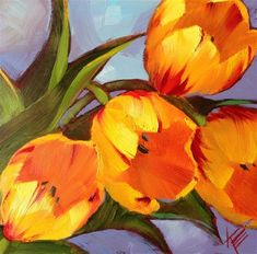 Yellow on Blue - Original Fine Art for Sale - � by Krista Eaton