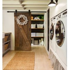 Laundry room idea...barn doors to cover furnace and such