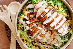 BBQ Chicken Salad from salad chicken bbq Drink recipes Food and Drink Recipe Food recipes Meat Salad, Soup And Salad, Food Salad, I Love Food, Good Food, Yummy Food, Salad Recipes, Healthy Recipes, Drink Recipes