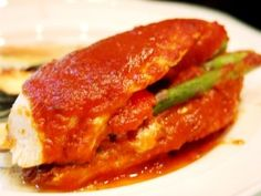 Stuffed Chicken with Spicy Red Pepper Sauce (Great for all phases) Ingredients: 3 red bell peppers 1 tbsp olive oil...