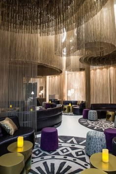This inspiringly colourful hotel lounge makes smart use of seating. (W Hotel Bogota, Colombia)
