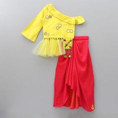 Pre Order: Yellow Knot Top With Dhoti Skirt<br> Kids Dress Wear, Kids Gown, Dresses Kids Girl, Kids Outfits Girls, Kids Wear, Baby Dresses, Kids Frocks Design, Baby Frocks Designs, Baby Girl Dress Patterns