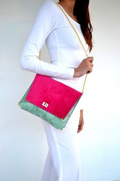 Fuchsia and  pistachio leather purse / Handmade purse with gold metal chain $105