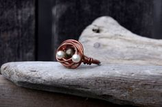 Copper Brass and Pearl Wire Wrapped Ring Wire Wrapped by Cyclop