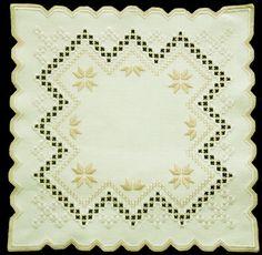 Cream beige hardanger embroidered doily