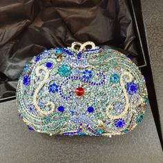 Horn Embellished Rhinestone Box Evening Clutches Bridal Bags