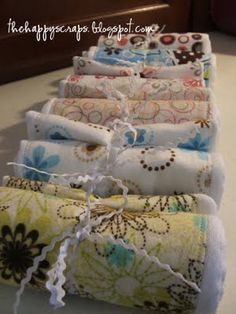 burp cloths...I've made these they are so simple and makes a great gift!