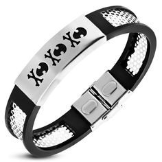 Stainless Steel with Black Rubber Cut out Pirate Skull Crossbones Watch Style Bracelet